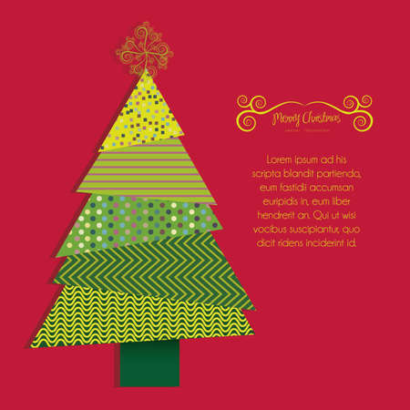 Illustration of christmas tree, made with patterns, vector illustration Vector