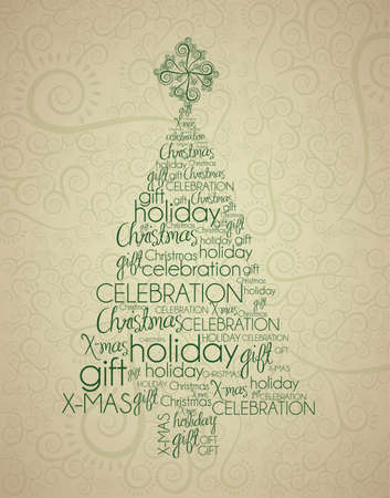 Christmas tree illustration with arabesques, vector illustration Vector