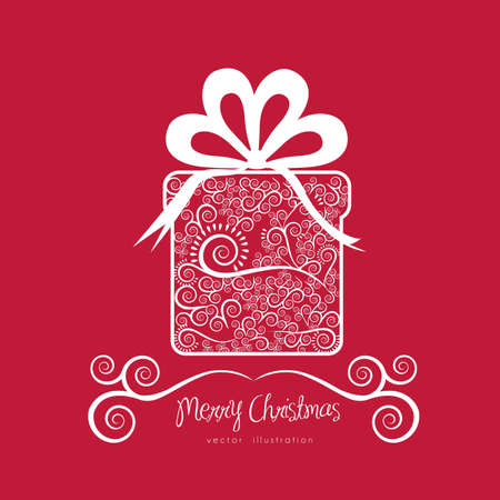 Christmas gift illustration with arabesques and bow, vector illustration  Vector
