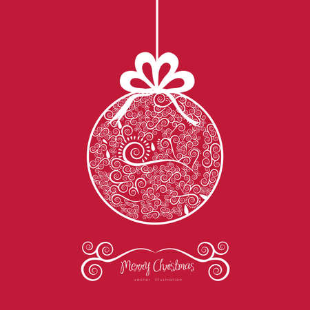Christmas ball hanging on, with arabesques, vector illustration Stock Vector - 15355647