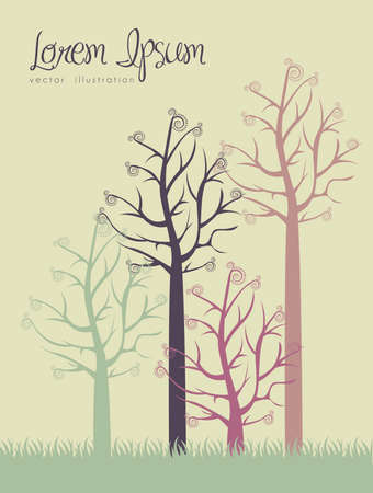 illustrations of color trees without leaves, vector illustration Vector