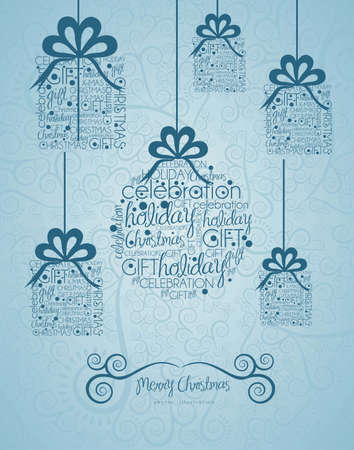 allusive: Christmas ball and gifts hanging on, made with allusive texts , vector illustration