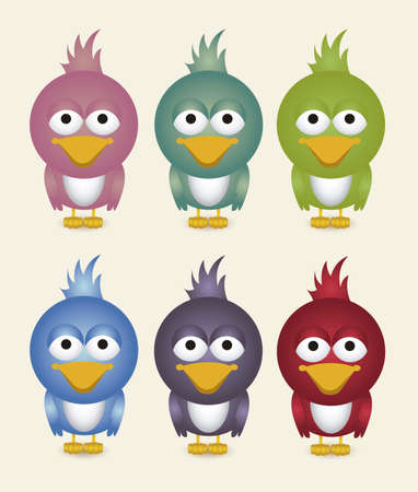 illustration of cute bird, in different colors, vector illustration