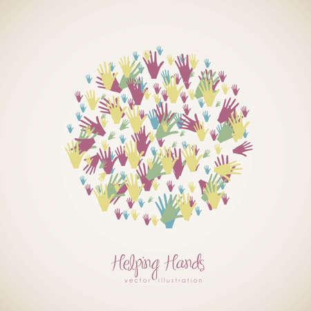 la société: illustration de mains de nombreuses couleurs, notion de diversité, illustration vectorielle