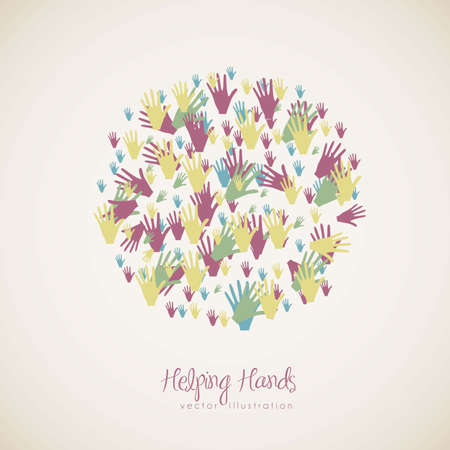 cohesion: illustration of many color hands, concept of diversity, vector illustration Illustration