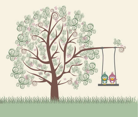 Illustration of an arabesques tree, with cute birds,vector illustration Stock Vector - 15355730