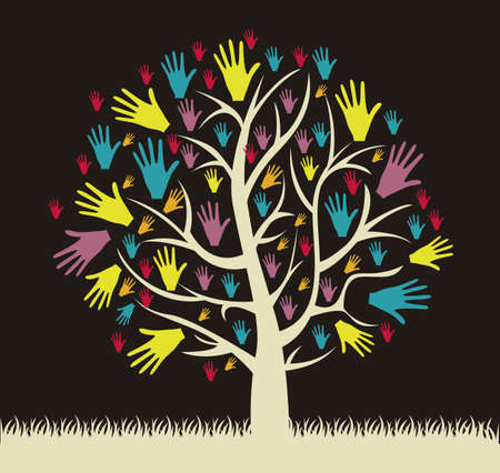 Illustration of an hands tree, help concept, vector illustration Vector