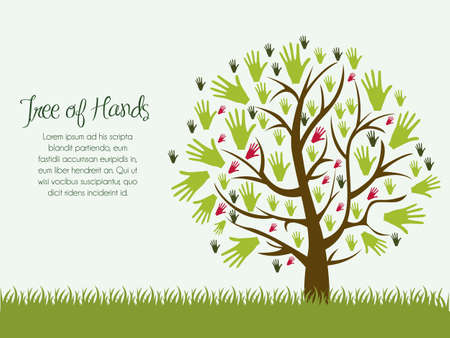 Illustration of an hands tree, help concept, vector illustration