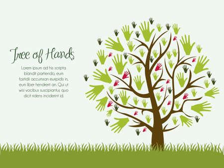 union: Illustrazione di un albero di mani, concetto di aiuto, illustrazione vettoriale Vettoriali