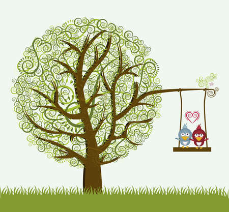 Illustration of an arabesques tree, with cute birds,vector illustration