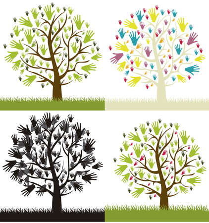 Illustration of different types of  hands tree, vector illustration Vector