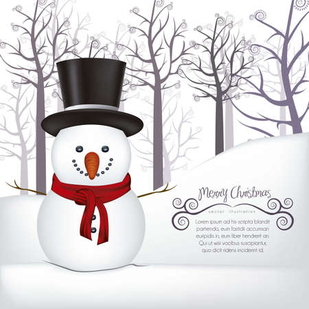 illustration of snowman, on a background of snow and trees, vector illustration