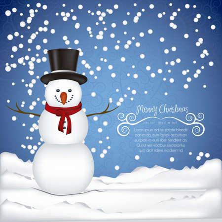ilustración del muñeco de nieve, sobre un fondo de nieve y copos de nieve, ilustración vectorial