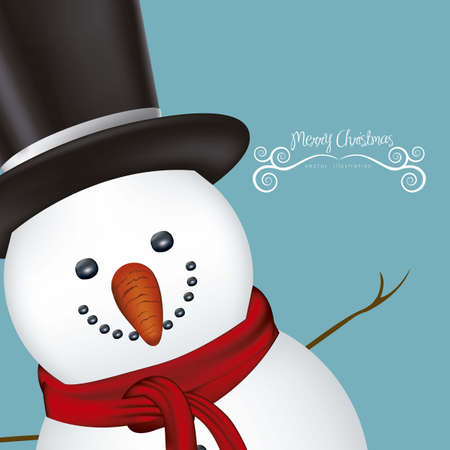 snowflakes: illustration of snowman, on a clear background, vector illustration Illustration