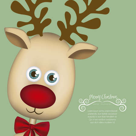illustration Christmas reindeer,  Rudolph the reindeer, vector illustration Vector