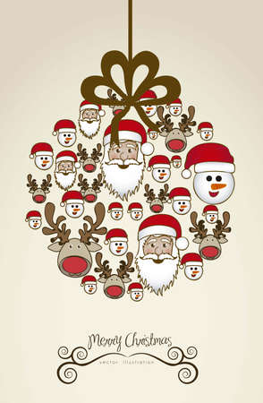 Illustration of christmas balls, made with christmas characters, vector illustration Vector