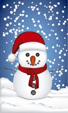 illustration de bonhomme de neige, sur un fond de neige et les flocons de neige, illustration vectorielle
