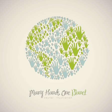 solidaridad: ilustraci�n de las manos de muchos colores, que forman el planeta, el concepto de diversidad, ilustraci�n vectorial