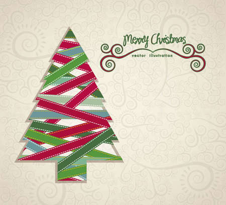 branch of a christmas tree: Christmas tree illustration made with colored ribbons, vector illustration Illustration