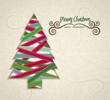 navidad elegante: Ilustraci�n �rbol de navidad hecho con cintas de colores, ilustraci�n vectorial Vectores