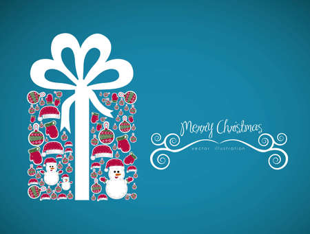 Illustration of christmas gift, made with christmas characters, vector illustration Stock Vector - 15355798