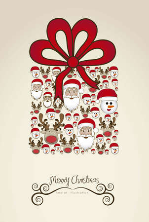 Illustration of christmas gift, made with christmas characters, vector illustration Stock Vector - 15355666