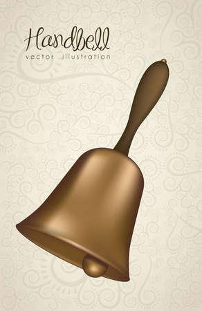 campanas: ilustraci�n de oro handlebell con la cinta roja, ilustraci�n vectorial