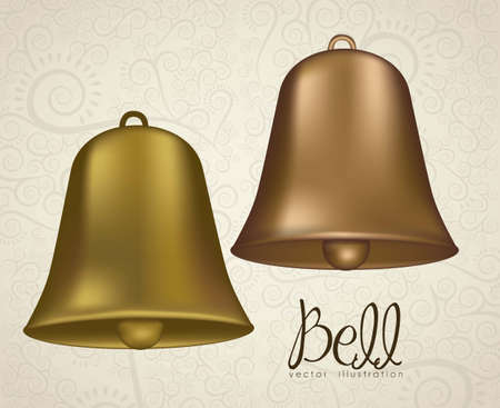 church bell: illustration of  golden bells on arasbeque background, vector illustration Illustration
