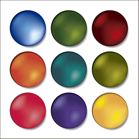 red sphere: 3D illustration of colored buttons, vector illustration