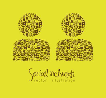 iconography: illustration of social networking, people made up of business and web icons, vector illustration