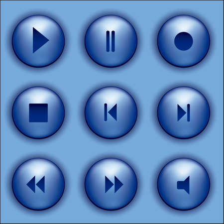 illustration of blue buttons with audio icons, vector illustration Stock Vector - 15564084