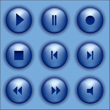 pausa: Ilustraci�n de botones de color azul con los iconos de audio, ilustraci�n vectorial