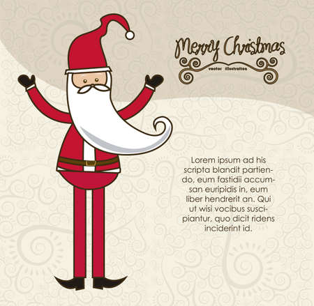 modern Santa Claus, in arabesque background in pastel colors, vector illustration Vector