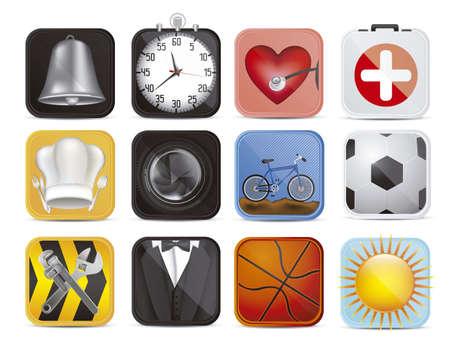 reminder icon: illustration of colorful applications icons with different textures, vector illustration