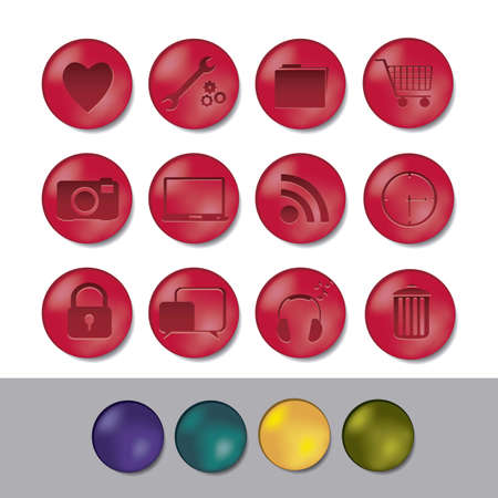 illustration of 3D buttons with business and web icons, vector illustration Vector