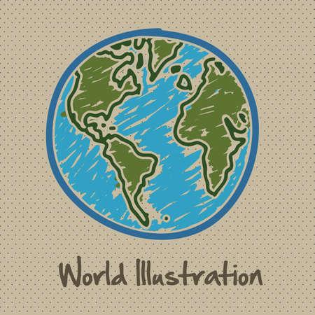 tierra caricatura: dibujo ilustraci�n del planeta Tierra, aislada en puntos de fondo, ilustraci�n vectorial