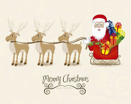santa clause hat: illustration of santa with sleigh full of gifts and reindeer, vector illustration