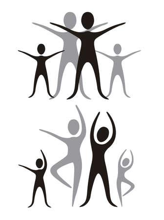 figuras abstractas: familia ilustraci�n de negro y gris, aislado en ilustraci�n vectorial de fondo blanco,