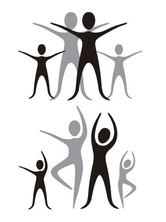 human figures: family illustration of black and gray, isolated on white background, vector illustration