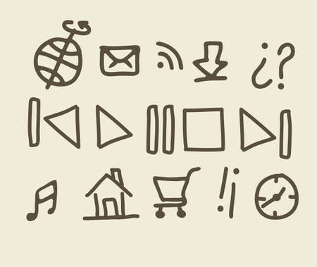 iconography: illustration of sketches of icons with brown lines, vector illustration