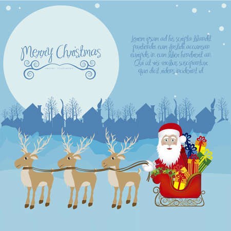 house of santa clause: illustration of santa with sleigh full of gifts and reindeer, on the eve of Christmas, illustration Vector