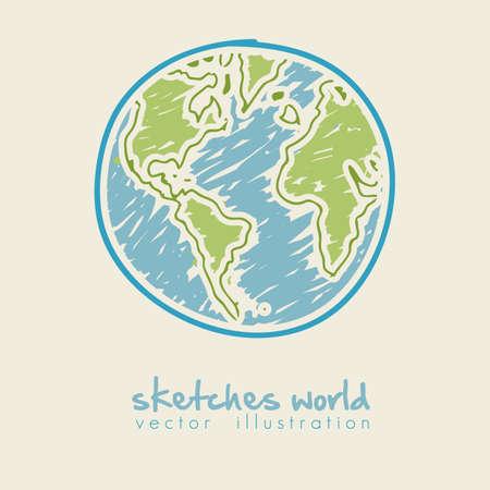 bocetos de personas: dibujo ilustraci�n de la tierra del planeta, aislado en ilustraci�n vectorial de fondo blanco,