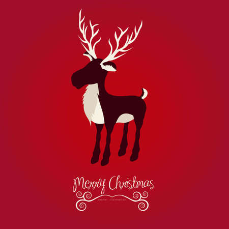 Christmas reindeer illustration on red background, vector illustration Vector