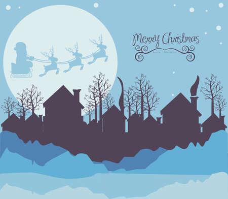 snow house: illustration of neighborhood on the  Christmas eve, vector illustration   Illustration