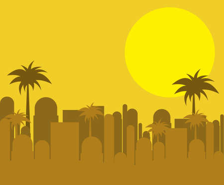 urban area: illustration of city at sunset in cream and gold, vector illustration