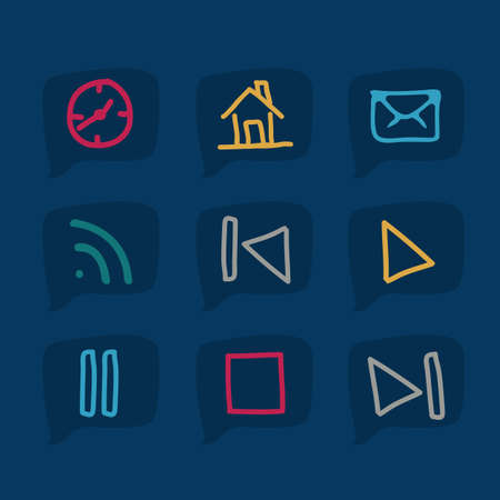 iconography: illustration of sketches of icons on blue text bubbles, vector illustration Illustration