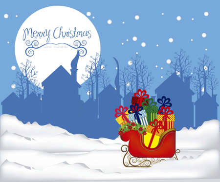 illustration of  Sleigh full of gifts, on the eve of Christmas, illustration Vector Vector