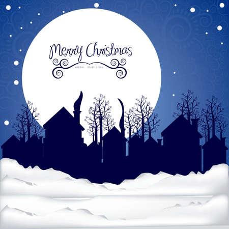 christmas eve: illustration of neighborhood on the  Christmas eve, vector illustration   Illustration