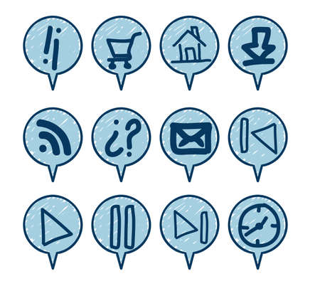 iconography: illustration of sketches of icons with blue lines, vector illustration Illustration