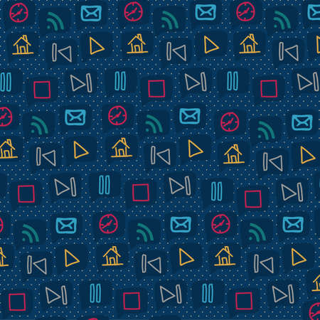 pattern of sketches icons in different colors, vector illustration Vector